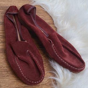 Vintage Bernardo Guidabene red suede loafers 8.5
